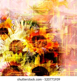 Floral background with stylized bouquet of shiny sunflowers on grunge striped bright backdrop