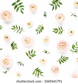 Floral background texture made of pink ranunculus flower buds and eucalyptus branches on white background.  Flat lay, top view floral background.
