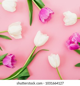 Floral background with tulips flowers on pink pastel background. Flat lay, top view. Woman day background.