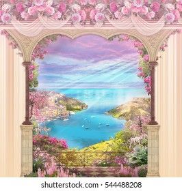 Floral background with vertical white, pink and peach stripes and archway overlooking the sea in the middle.