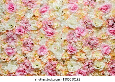 Floral background. Wall of silk light colors