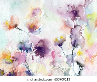 Floral background. Watercolor abstract flowers. Greeting card. Wedding invitation template. Floral card. Lilac spring flowers. Watercolor floral wall art painting for home
