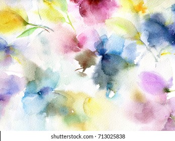 Floral background. Watercolor floral background. Greeting card. Wedding invitation template. Floral card. Abstract flowers. Wedding bouquet. Watercolor floral wall art painting for home decor. - Shutterstock ID 713025838