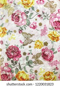 Floral botanical rose and butterflies background