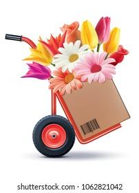 Floral bouquet in Hand truck. Creaitive idea. Realistic 3d illustration