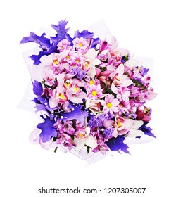Floral bouquet in rustic style isolated on white background. Vintage flower arrangement.