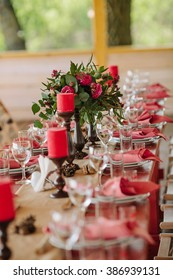 Floral and candle wedding decoration on festive  table
