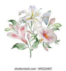 Floral card with flowers. Lilia. Alstroemeria. Butterfly. Watercolor illustration. Hand drawn.