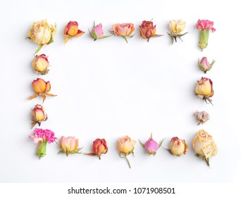Floral composition. Creative layout made with pink and violet flowers isolated on white background. Square frame with roses, flower buds. flat lay, top view Pastel colors. trendy minimal concept.