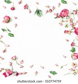 Floral composition. Frame made of dried rose flowers. Flat lay, top view, square.