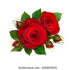 Floral composition with red rose flowers and buds isolated on white background. Flat lay. Top view.