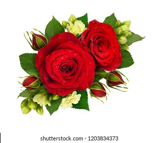 Floral composition with red roses and bouvardia flowers isolated on white background. Flat lay. Top view.