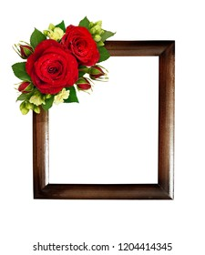 Floral composition with red roses and bouvardia flowers with wooden frame isolated on white background. Flat lay. Top view.