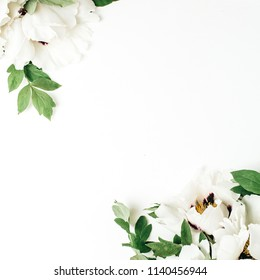 Floral composition of white peony flowers on white background. Flat lay, top view mock up.