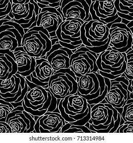 Floral decorative black and white background with cute roses, monochrome seamless pattern.