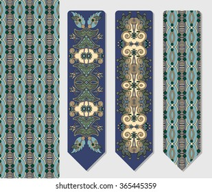 floral decorative ethnic paisley two bookmark for printing, double-sided layout raster version illustration