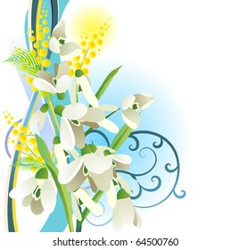 Floral design element with snowdrops. Raster version. Vector version is in my gallery.