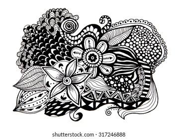 Floral Design Elements Doodle Flowers Zentangle Pattern Illustration Version