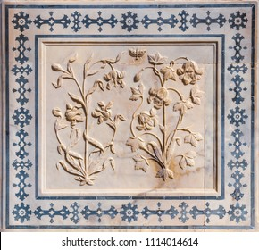 A floral design in marble at the Amber Fort in Rajasthan, India.