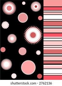 Floral design and stripes on black