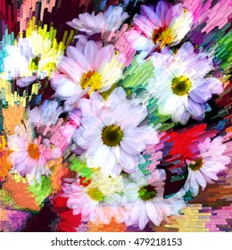 Floral dynamic  background with stylized bouquet of white chamomile on rainbow grunge striped diagonal backdrop