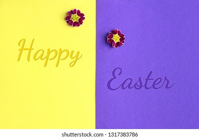 floral Easter greeting card with primrose blossoms