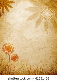 floral elements over brown grunge styled wall
