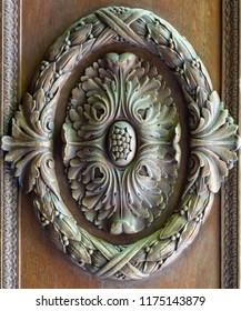Floral engraved decorations of a royal era wooden ornate door leaf, Cairo, Egypt