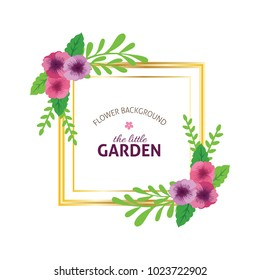 Floral Frame. Card for invitation in spring in square frame on geometric background colorful with beautiful flowers. Illustration for banner, flyer, invitation, poster.
