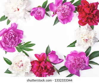 Floral frame made of pink and white peony flowers and leaves isolated on white background. Flat lay. Top view.