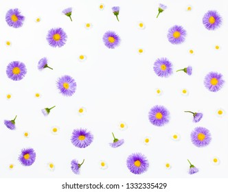 Floral frame made of violet asters and chamomile on white background. Flat lay. Top view with copy space.