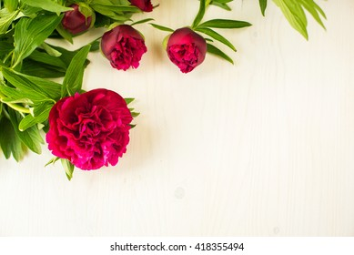 Floral frame with pink peonies on white wooden background with space for text