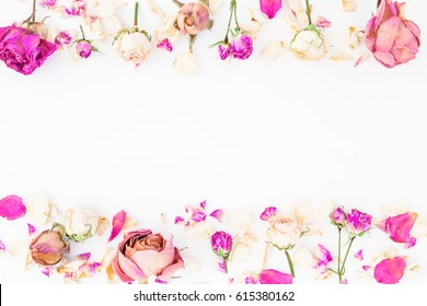 Floral frame with pink roses isolated on white background, Flat lay, Top view
