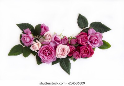 Floral frame with roses on white background