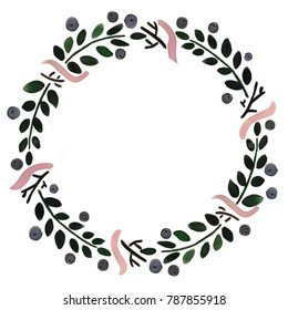 Floral frame: a wreath with berries and flowers; for wedding invitations and birthday cards. Raster illustrations