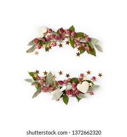 Floral frame wreath of dry rose flower buds, leaves and romantic decorations with shadows on white background mockup. Flat lay, top view.