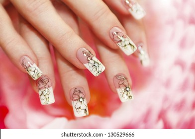 Floral French manicure on the pink white background.