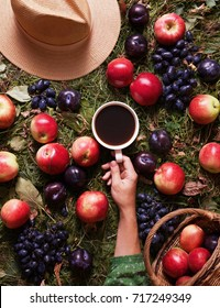 Floral fruit autumn background. A mug of coffee in a woman's hand on the grass with autumn harvest: grapes, plums and apples. Hello autumn mood. Apples in a basket, straw hat. Flat lay composition.