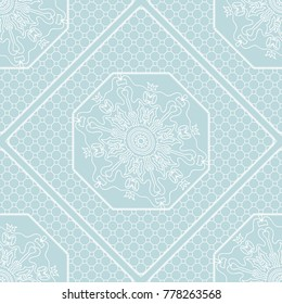 floral geometric lace ornament on blue background. Seamless  illustration. For Fashion Background, Wallpaper, Home Decor, Interior Design