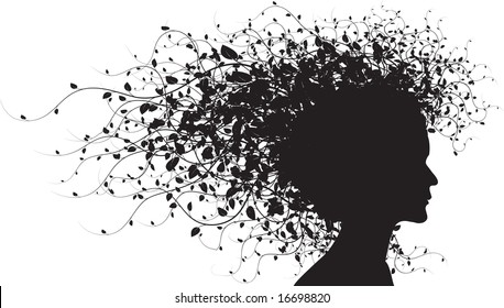 Floral girl silhouette on white background