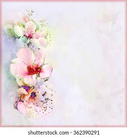 Floral greeting card in pastel colors with stylized flowers , frame and space for text