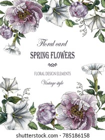 Floral greeting card with peonies and datura flower