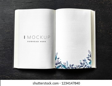 Floral guest book mockup on a table
