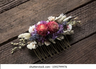 Floral Hair Comb dried flower Hair accessories pink lavender white woodland rustic wedding