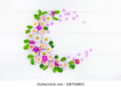 Floral layout, creative flower composition. Wreath frame in form of a crescent of pink flowers and petals of daisies and green leaves on white wooden background, top view. Flat lay, copy space, macro.
