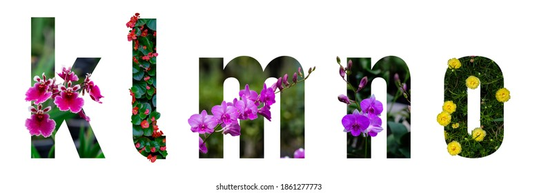 Floral letters. The letters K, L, M, N, O are made from colorful flower photos. A collection of wonderful flora letters for unique spring decorations and various creation ideas.