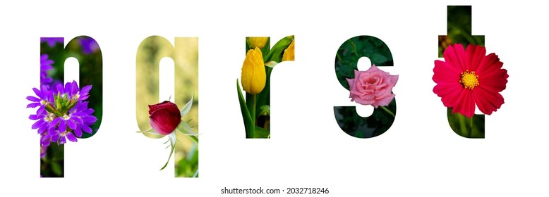 Floral letters. The letters p, q, r, s, t are made from colorful flower photos. A collection of wonderful flora letters for unique spring decorations and various creation ideas.