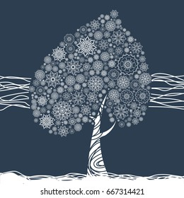 Floral mandala tree for coloring book and prints. Raster illustration.