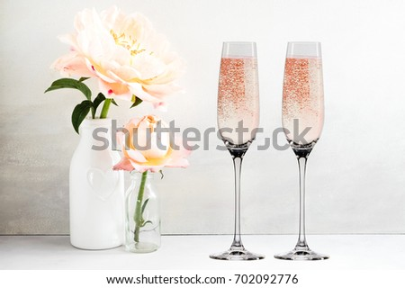 Floral Mockup 2 Champagne Glasses Next Stock Photo Edit Now