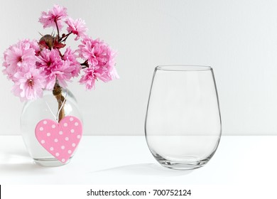 Floral mock-up of a stemless wine glass, perfect for businesses who sell decals, vinyl stickers, just overlay your design